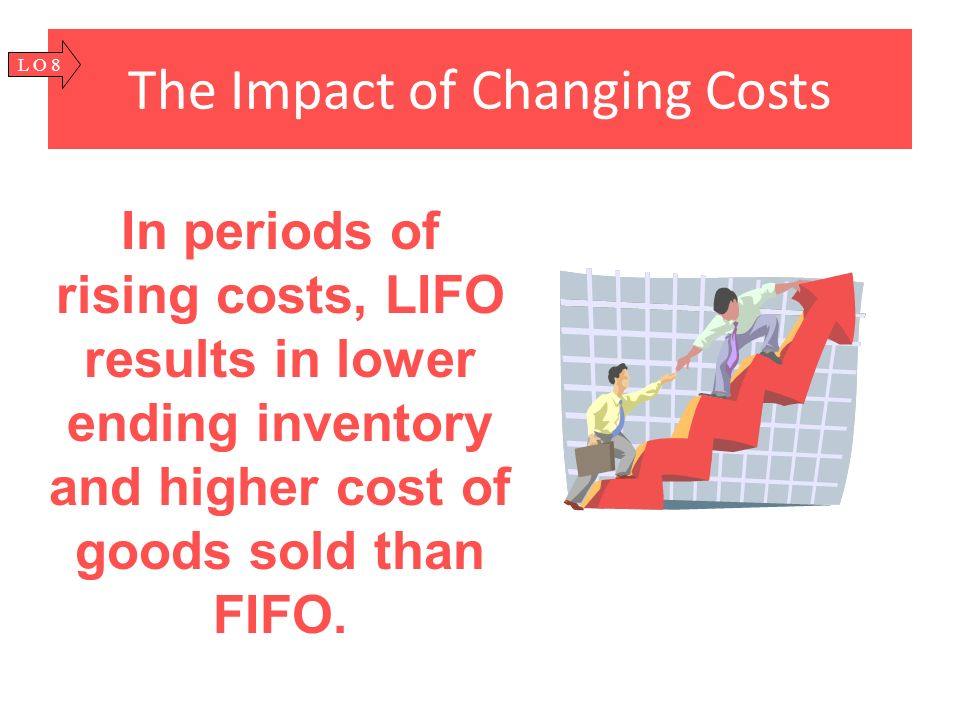 The Impact of Changing Costs In periods of rising costs, LIFO results in lower ending inventory and higher cost of goods sold than FIFO. L O 8