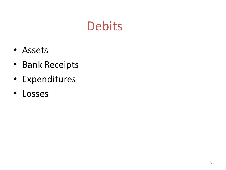 Debits Assets Bank Receipts Expenditures Losses 8