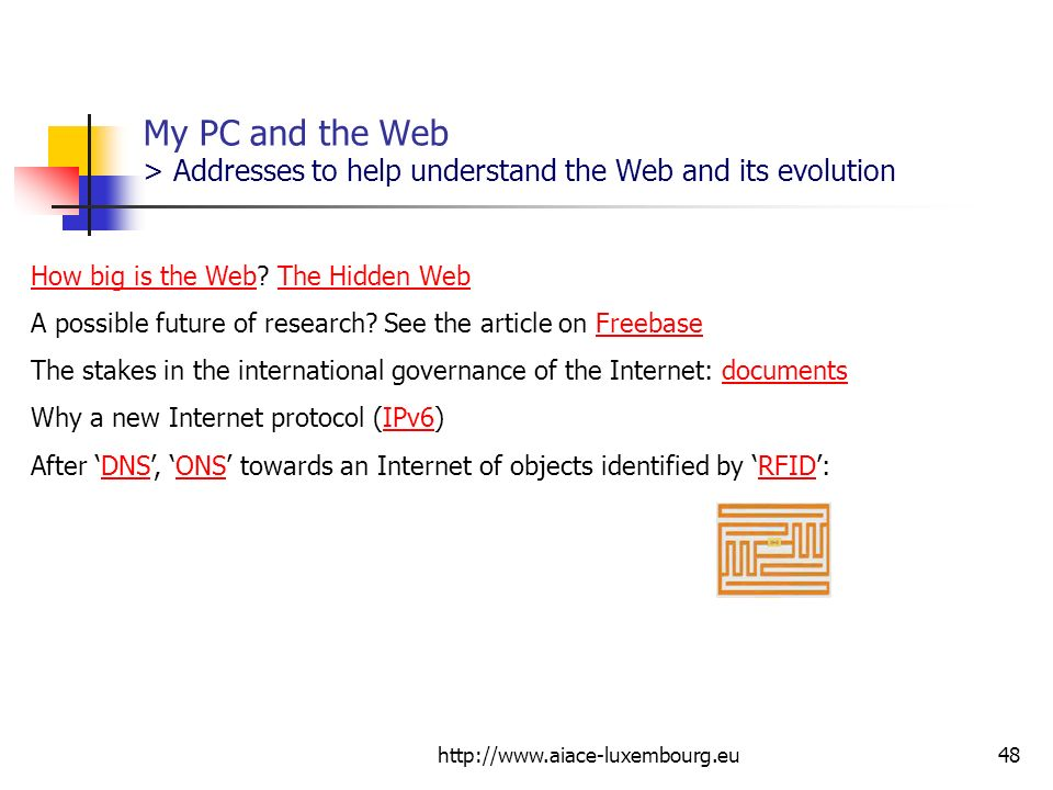 http://www.aiace-luxembourg.eu48 My PC and the Web > Addresses to help understand the Web and its evolution How big is the WebHow big is the Web? The