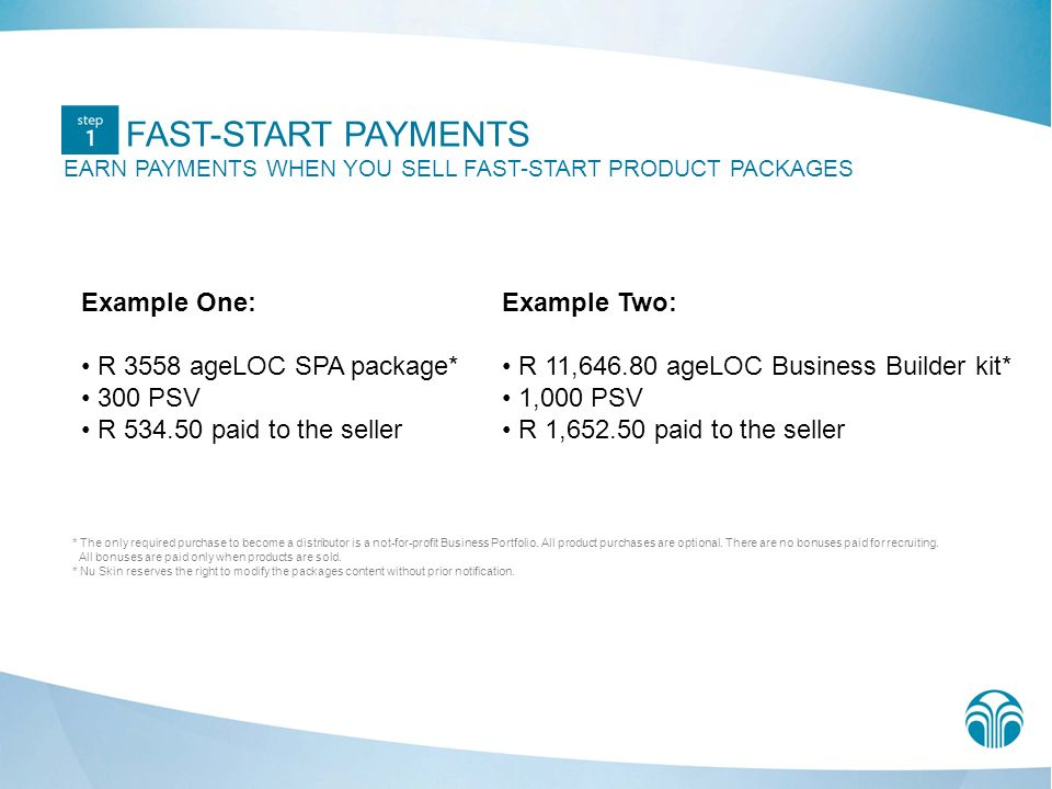 FAST-START PAYMENTS EARN PAYMENTS WHEN YOU SELL FAST-START PRODUCT PACKAGES Example One: R 3558 ageLOC SPA package* 300 PSV R 534.50 paid to the selle
