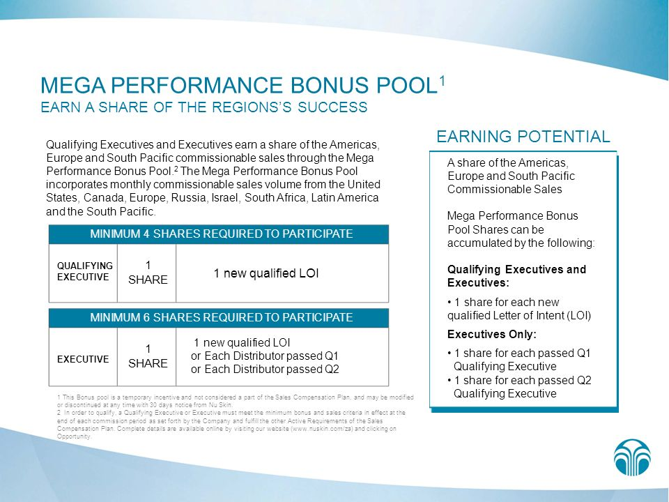 MEGA PERFORMANCE BONUS POOL 1 EARN A SHARE OF THE REGIONSS SUCCESS Qualifying Executives and Executives earn a share of the Americas, Europe and South