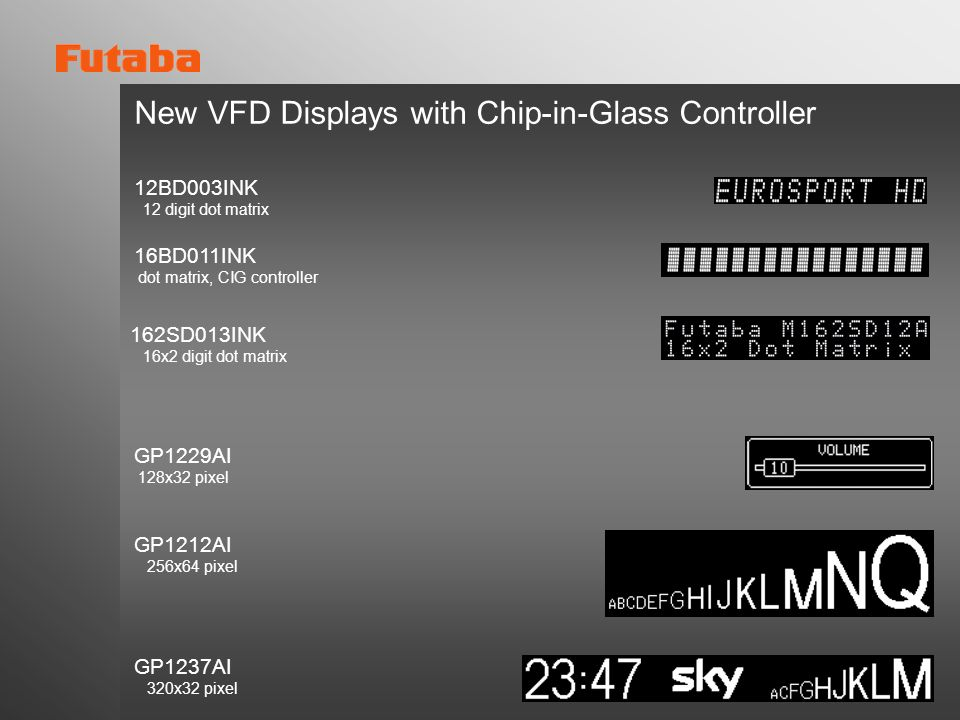 New VFD Displays with Chip-in-Glass Controller GP1229AI 128x32 pixel GP1212AI 256x64 pixel GP1237AI 320x32 pixel 12BD003INK 12 digit dot matrix 162SD0