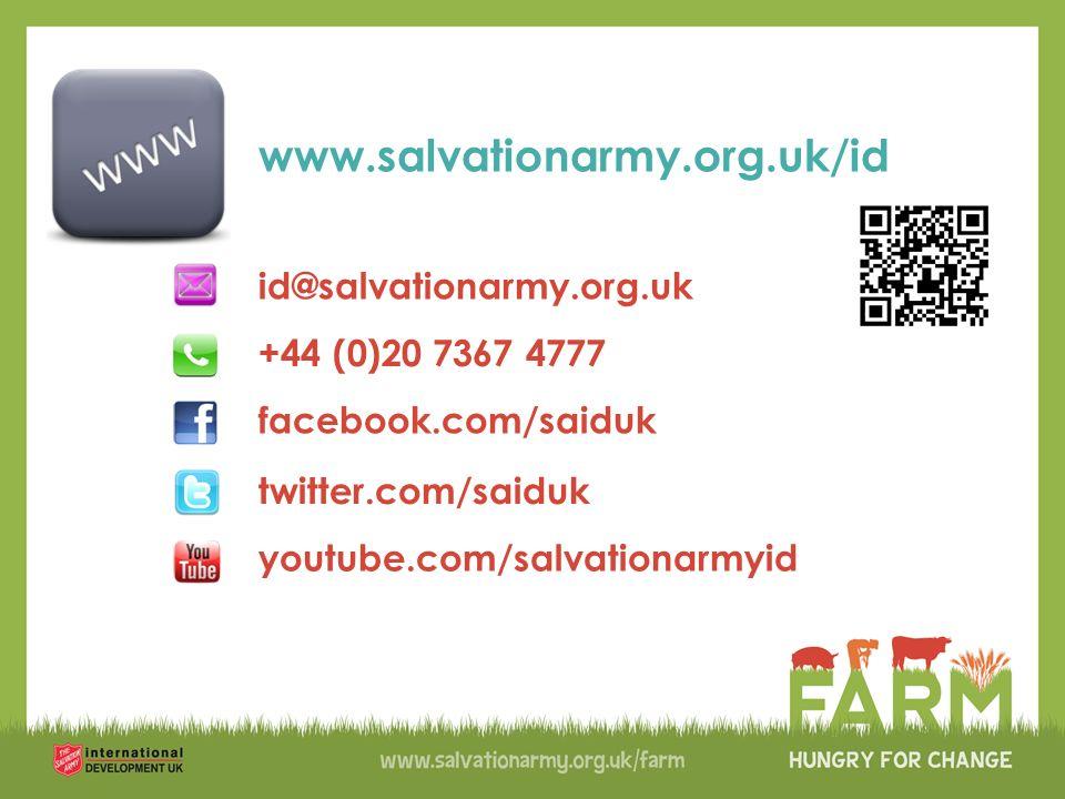 youtube.com/salvationarmyid +44 (0)20 7367 4777 www.salvationarmy.org.uk/id id@salvationarmy.org.uk facebook.com/saiduk twitter.com/saiduk