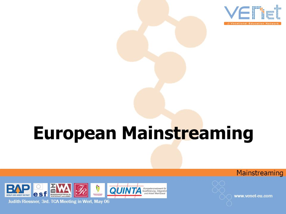 Mainstreaming www.venet-eu.com Judith Riessner, 3rd. TCA Meeting in Werl, May 06 European Mainstreaming