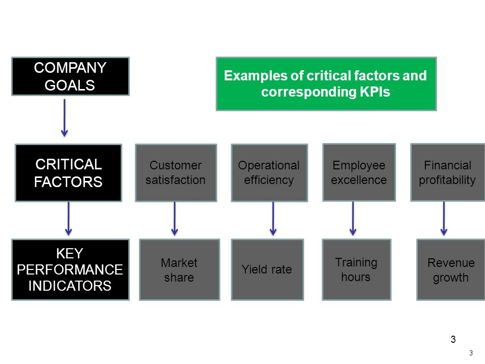 3 COMPANY GOALS CRITICAL FACTORS KEY PERFORMANCE INDICATORS Examples of critical factors and corresponding KPIs Operational efficiency Employee excell