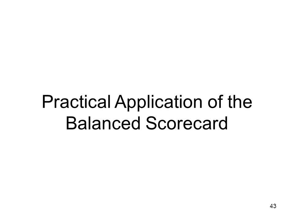 43 Practical Application of the Balanced Scorecard