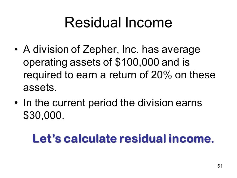 61 Residual Income A division of Zepher, Inc. has average operating assets of $100,000 and is required to earn a return of 20% on these assets. In the