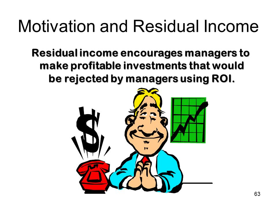 63 Motivation and Residual Income Residual income encourages managers to make profitable investments that would be rejected by managers using ROI.