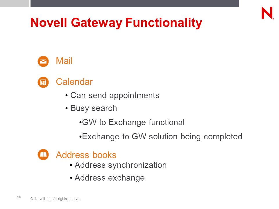 © Novell Inc. All rights reserved 10 Novell Gateway Functionality Calendar Mail Can send appointments Busy search GW to Exchange functional Exchange t
