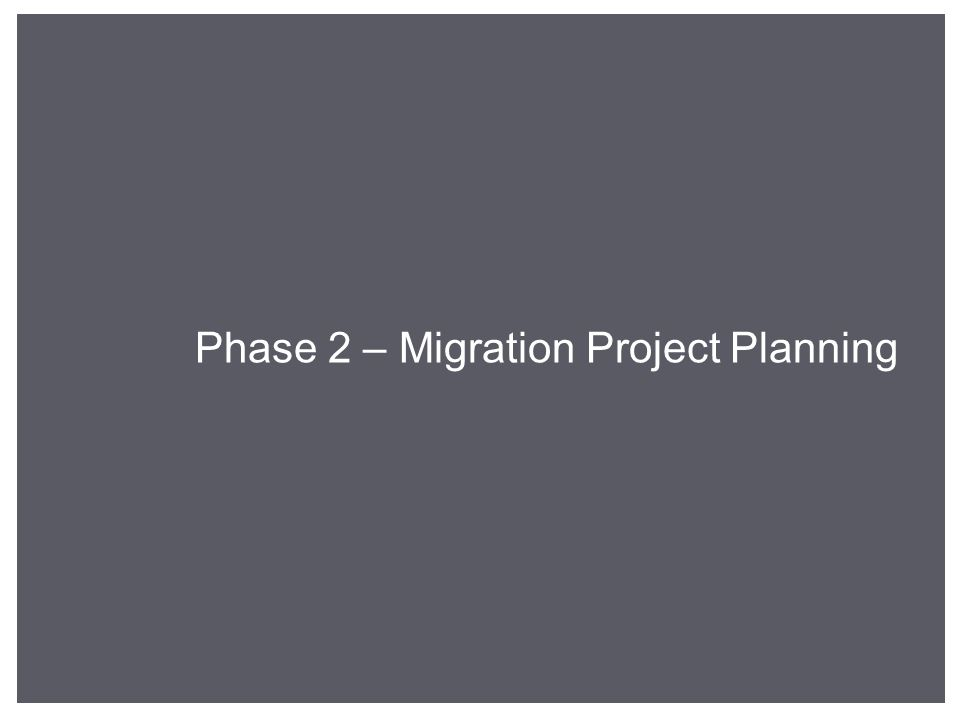 Phase 2 – Migration Project Planning