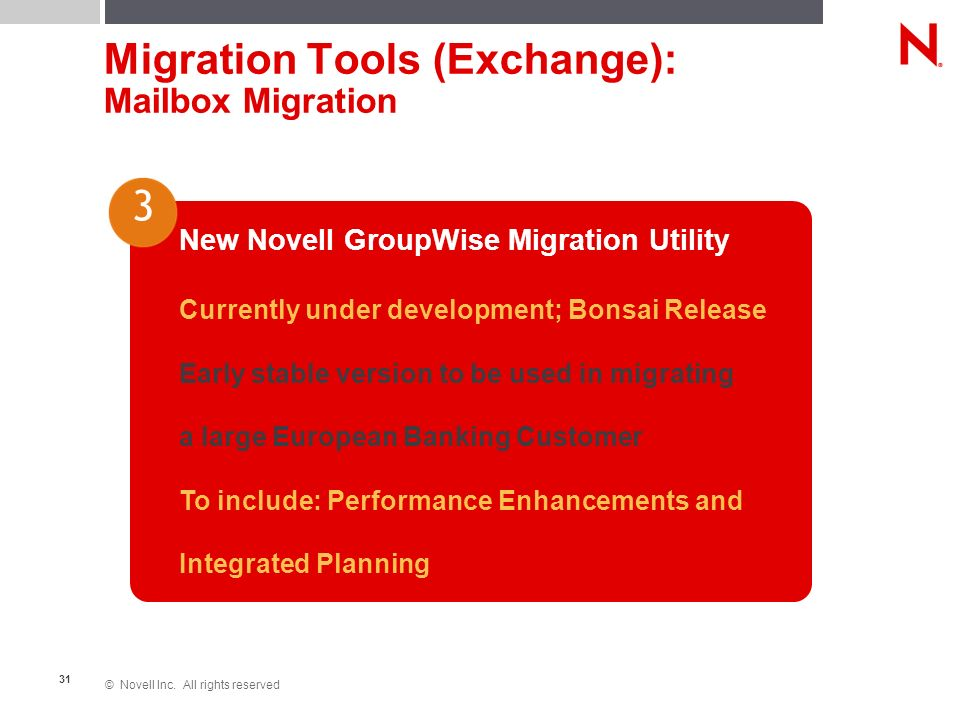 © Novell Inc. All rights reserved 31 Migration Tools (Exchange): Mailbox Migration New Novell GroupWise Migration Utility Currently under development;