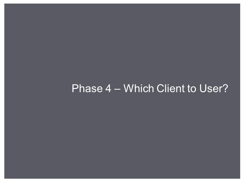 Phase 4 – Which Client to User?
