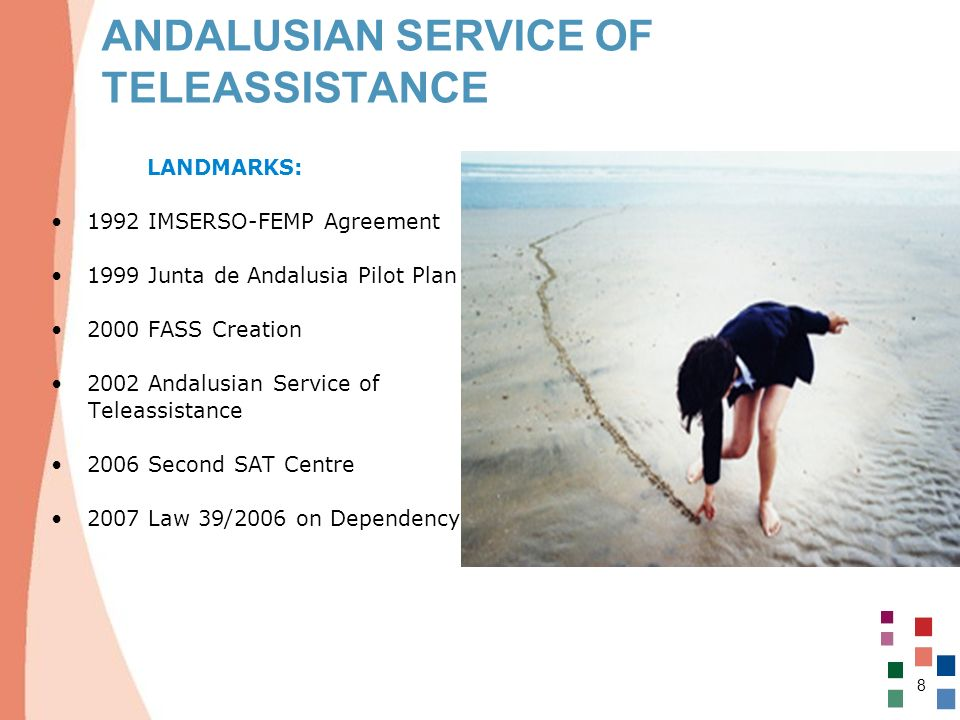 8 ANDALUSIAN SERVICE OF TELEASSISTANCE LANDMARKS: 1992 IMSERSO-FEMP Agreement 1999 Junta de Andalusia Pilot Plan 2000 FASS Creation 2002 Andalusian Se