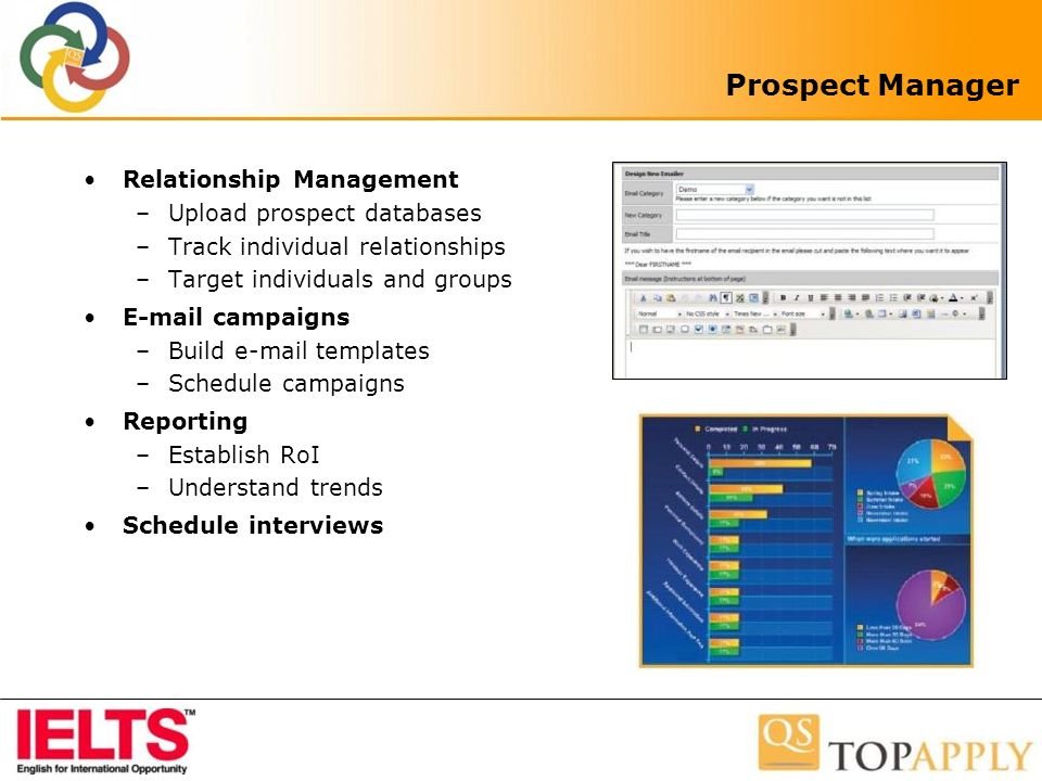 Prospect Manager Relationship Management –Upload prospect databases –Track individual relationships –Target individuals and groups E-mail campaigns –Build e-mail templates –Schedule campaigns Reporting –Establish RoI –Understand trends Schedule interviews