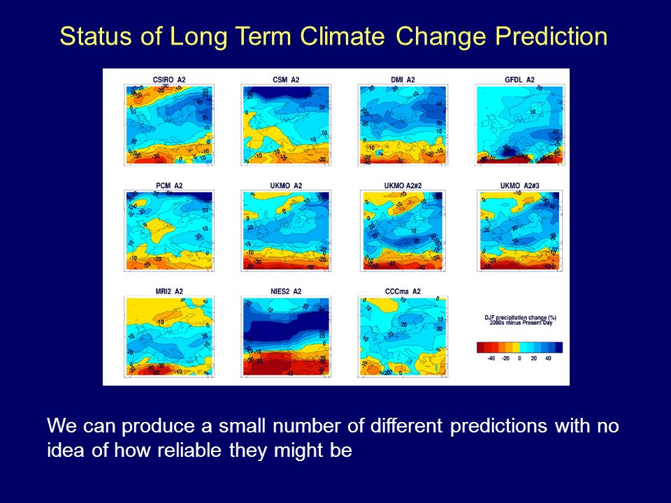 We can produce a small number of different predictions with no idea of how reliable they might be Status of Long Term Climate Change Prediction