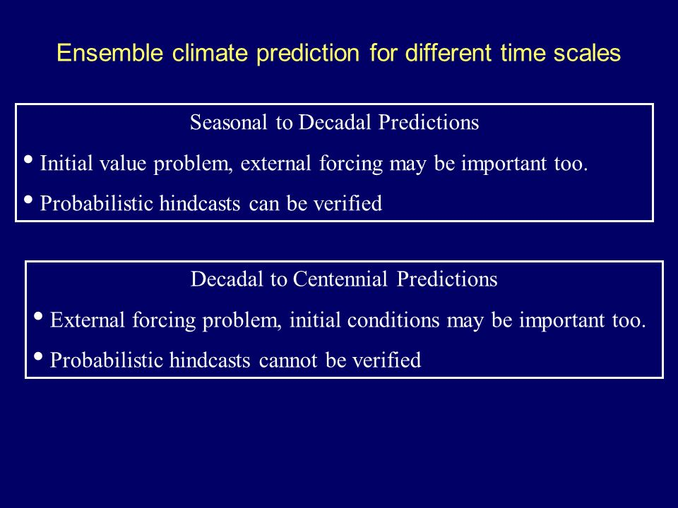 Ensemble climate prediction for different time scales Seasonal to Decadal Predictions Initial value problem, external forcing may be important too.