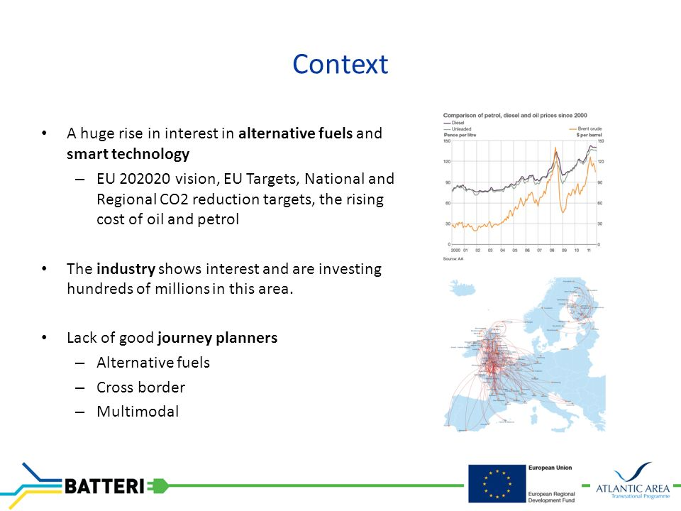 Context A huge rise in interest in alternative fuels and smart technology – EU vision, EU Targets, National and Regional CO2 reduction targets, the rising cost of oil and petrol The industry shows interest and are investing hundreds of millions in this area.