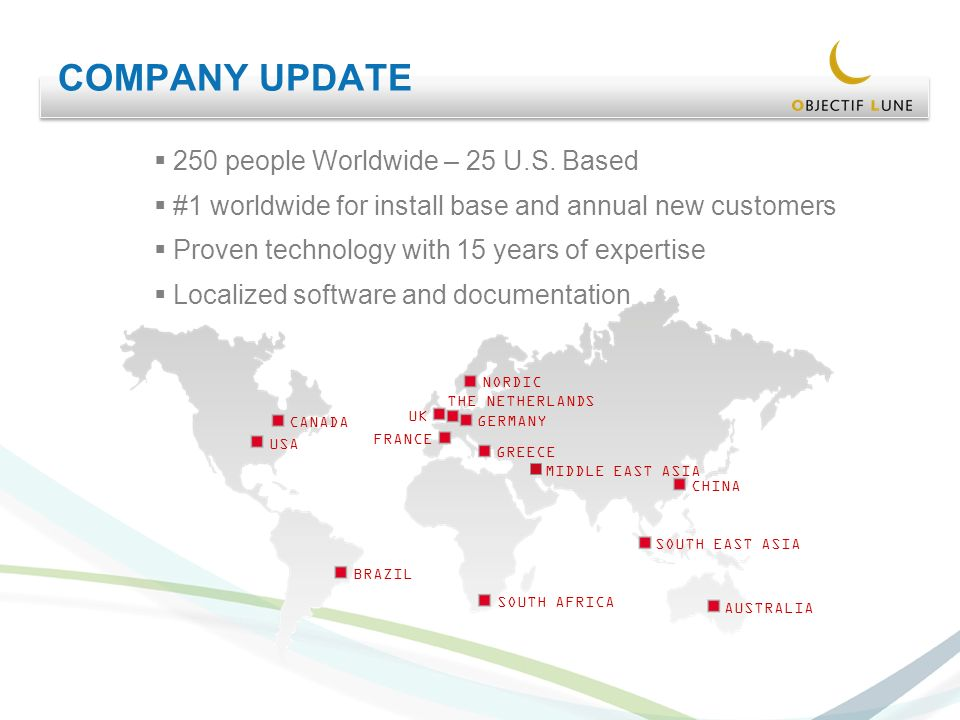 COMPANY UPDATE 250 people Worldwide – 25 U.S.