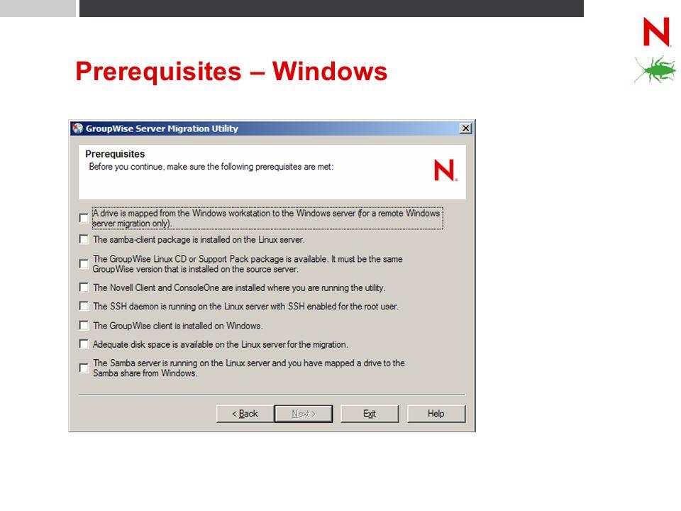 Prerequisites – Windows