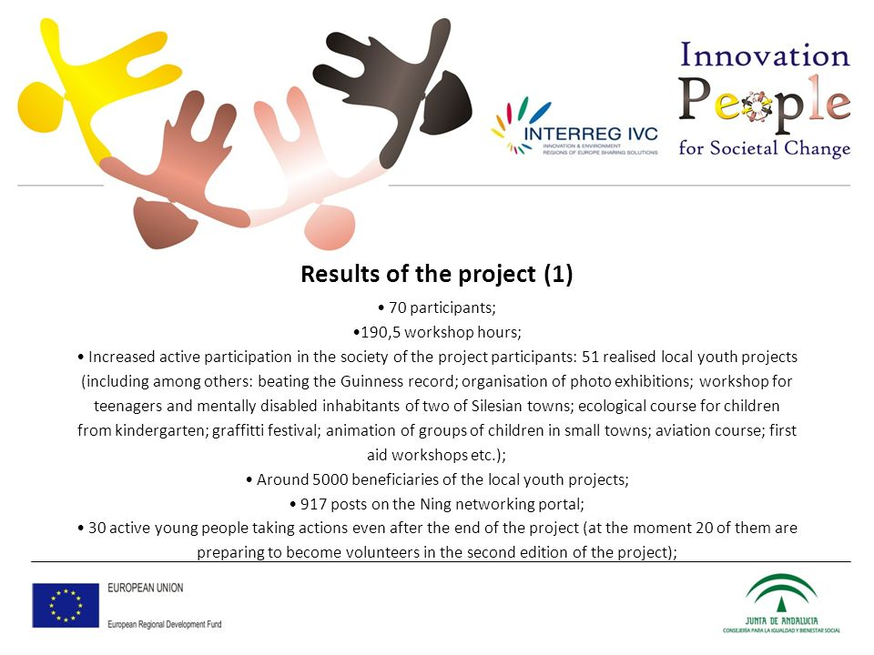 Results of the project (1) 70 participants; 190,5 workshop hours; Increased active participation in the society of the project participants: 51 realised local youth projects (including among others: beating the Guinness record; organisation of photo exhibitions; workshop for teenagers and mentally disabled inhabitants of two of Silesian towns; ecological course for children from kindergarten; graffitti festival; animation of groups of children in small towns; aviation course; first aid workshops etc.); Around 5000 beneficiaries of the local youth projects; 917 posts on the Ning networking portal; 30 active young people taking actions even after the end of the project (at the moment 20 of them are preparing to become volunteers in the second edition of the project);