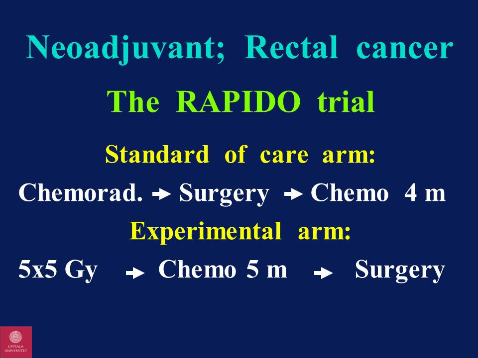Neoadjuvant; Rectal cancer The RAPIDO trial Standard of care arm: Chemorad. Surgery Chemo 4 m Experimental arm: 5x5 Gy Chemo 5 m Surgery