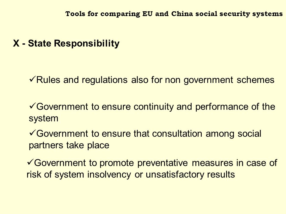 Tools for comparing EU and China social security systems Government to ensure continuity and performance of the system Government to ensure that consultation among social partners take place Rules and regulations also for non government schemes Government to promote preventative measures in case of risk of system insolvency or unsatisfactory results X - State Responsibility