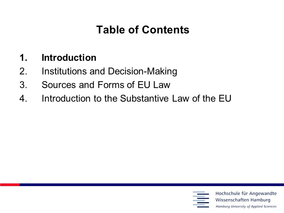 1Introduction 1.1From the European Communities to the EU Originally, the term European Communities was given collectively to three IGO´s: –European Economic Community, EEC – also referred to as the European Community (EC) –European Atomic Energy Community (Euratom) –European Coal and Steel Community (ECSC) – expired in 2002 Term European Union introduced by the Treaty on European Union (also referred to as the Maastricht Treaty, 1992): –described the extension by the member states into additional policies and areas of cooperation