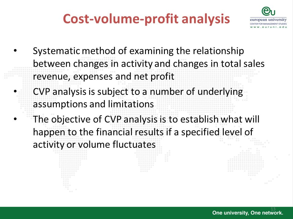 13 Cost-volume-profit analysis Systematic method of examining the relationship between changes in activity and changes in total sales revenue, expense