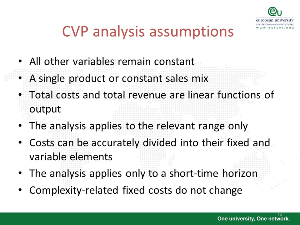 14 CVP analysis assumptions All other variables remain constant A single product or constant sales mix Total costs and total revenue are linear functi