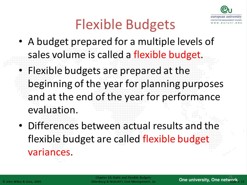 24 © John Wiley & Sons, 2005 Chapter 10: Static and Flexible Budgets Eldenburg & Wolcotts Cost Management, 1eSlide # 24 Flexible Budgets A budget prep
