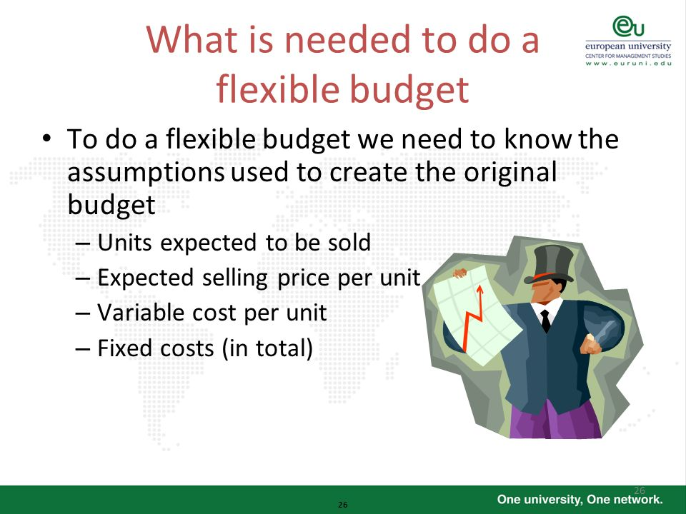 26 What is needed to do a flexible budget To do a flexible budget we need to know the assumptions used to create the original budget – Units expected