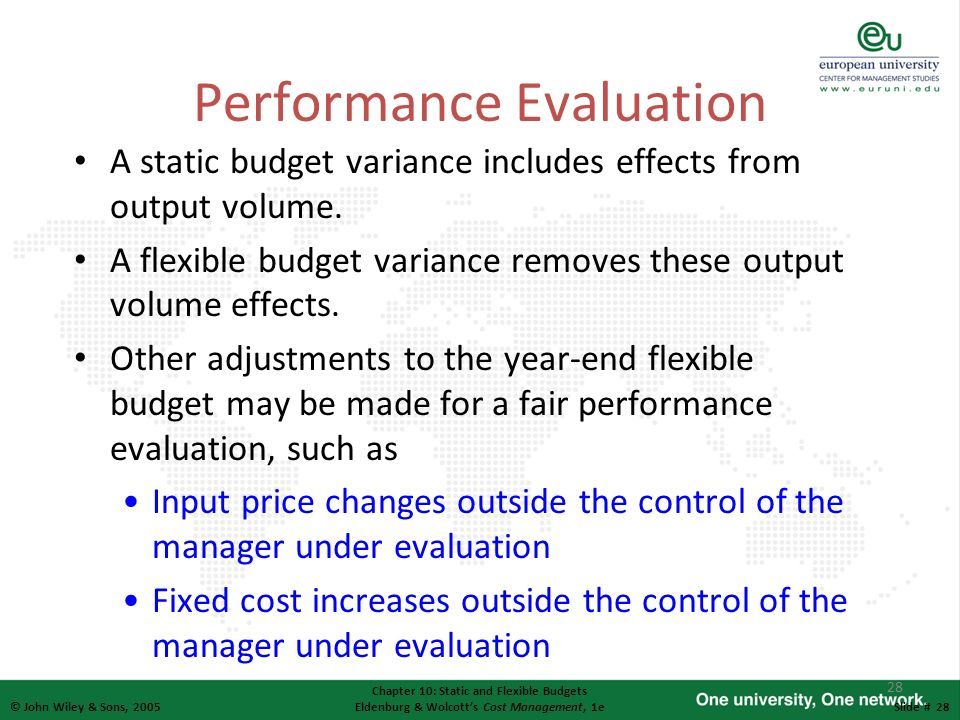 28 © John Wiley & Sons, 2005 Chapter 10: Static and Flexible Budgets Eldenburg & Wolcotts Cost Management, 1eSlide # 28 Performance Evaluation A stati