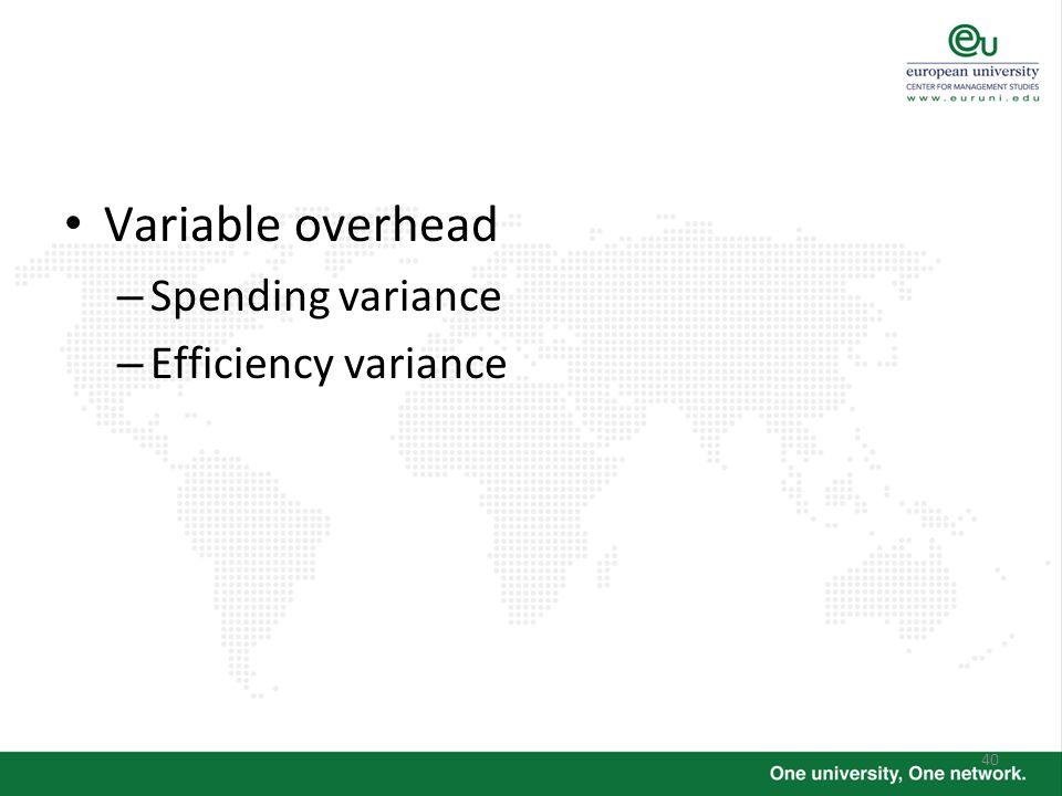 40 Variable overhead – Spending variance – Efficiency variance