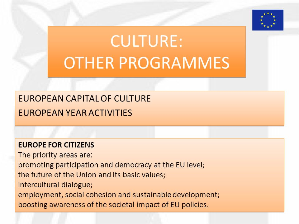 CULTURE: OTHER PROGRAMMES EUROPEAN CAPITAL OF CULTURE EUROPEAN YEAR ACTIVITIES EUROPEAN CAPITAL OF CULTURE EUROPEAN YEAR ACTIVITIES EUROPE FOR CITIZENS The priority areas are: promoting participation and democracy at the EU level; the future of the Union and its basic values; intercultural dialogue; employment, social cohesion and sustainable development; boosting awareness of the societal impact of EU policies.