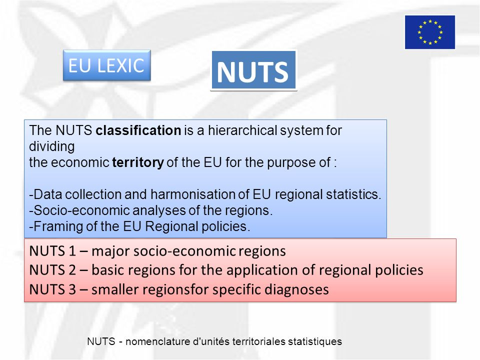 NUTS The NUTS classification is a hierarchical system for dividing the economic territory of the EU for the purpose of : -Data collection and harmonisation of EU regional statistics.