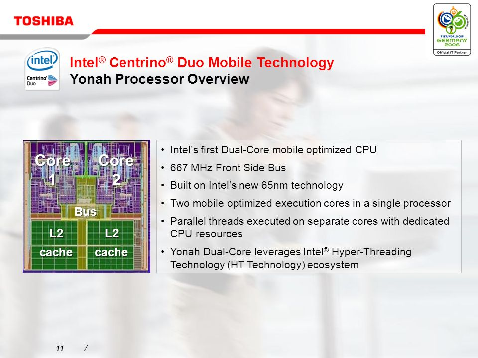 11/ Intels first Dual-Core mobile optimized CPU 667 MHz Front Side Bus Built on Intels new 65nm technology Two mobile optimized execution cores in a single processor Parallel threads executed on separate cores with dedicated CPU resources Yonah Dual-Core leverages Intel ® Hyper-Threading Technology (HT Technology) ecosystem Intel ® Centrino ® Duo Mobile Technology Yonah Processor Overview Bus L2 cache L2 cache Core 1 Core 2 L2 cache L2 cache