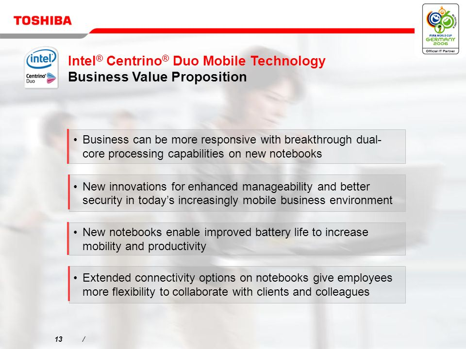 13/ Business can be more responsive with breakthrough dual- core processing capabilities on new notebooks New innovations for enhanced manageability and better security in todays increasingly mobile business environment New notebooks enable improved battery life to increase mobility and productivity Extended connectivity options on notebooks give employees more flexibility to collaborate with clients and colleagues Intel ® Centrino ® Duo Mobile Technology Business Value Proposition