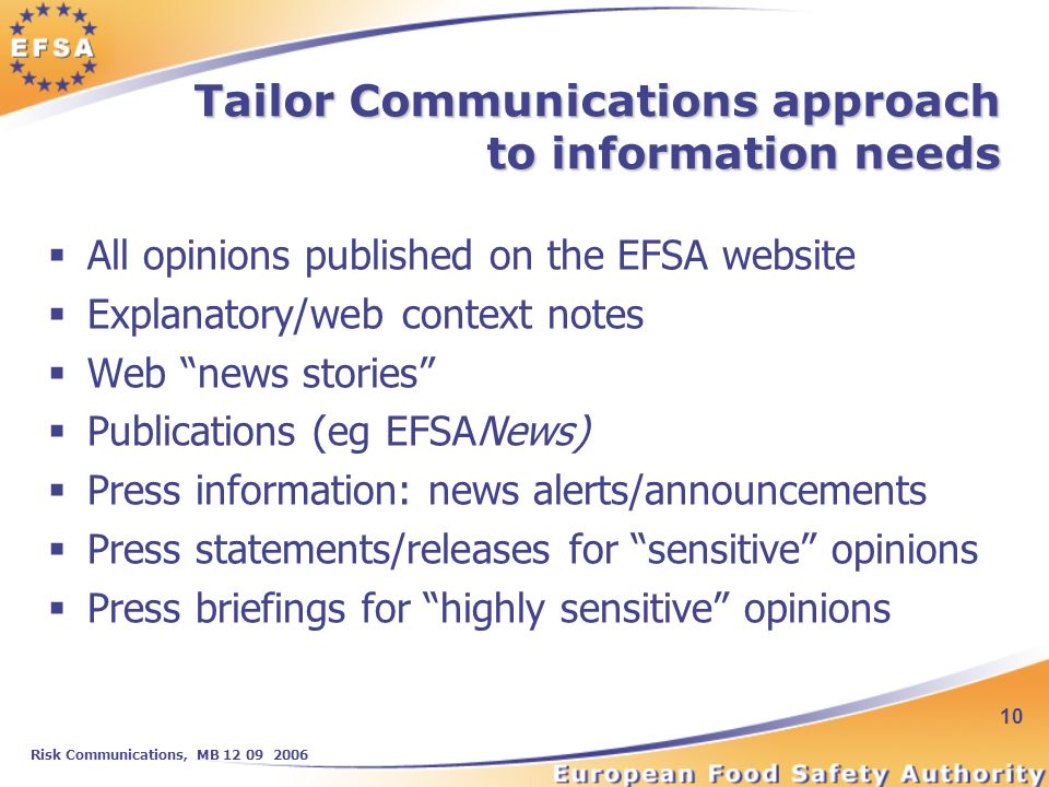 Risk Communications, MB 12 09 2006 10 Tailor Communications approach to information needs All opinions published on the EFSA website Explanatory/web context notes Web news stories Publications (eg EFSANews) Press information: news alerts/announcements Press statements/releases for sensitive opinions Press briefings for highly sensitive opinions