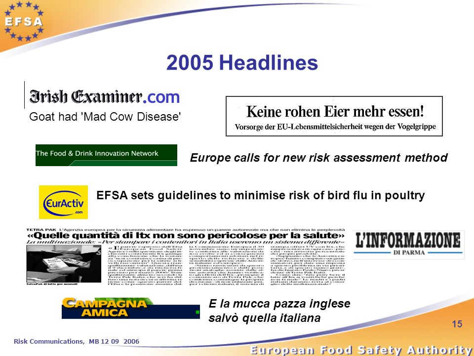 Risk Communications, MB 12 09 2006 15 Goat had Mad Cow Disease 2005 Headlines E la mucca pazza inglese salvò quella italiana Europe calls for new risk assessment method EFSA sets guidelines to minimise risk of bird flu in poultry