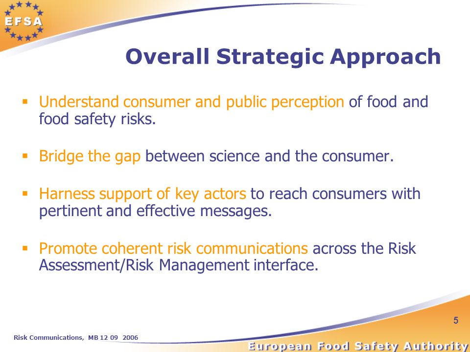 Risk Communications, MB 12 09 2006 5 Overall Strategic Approach Understand consumer and public perception of food and food safety risks.