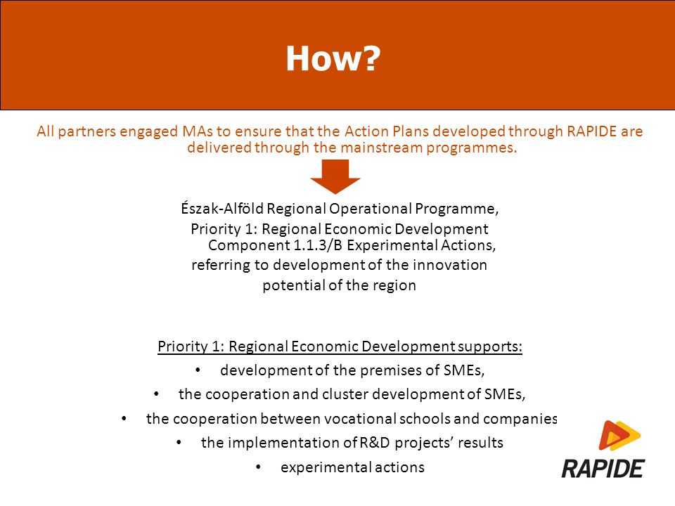 How? All partners engaged MAs to ensure that the Action Plans developed through RAPIDE are delivered through the mainstream programmes. Észak-Alföld R