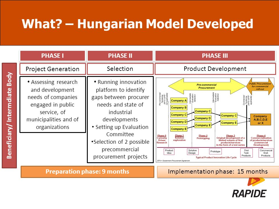 What? – Hungarian Model Developed Beneficiary/ Intermdiate Body Project Generation SelectionProduct Development PHASE I PHASE II PHASE III Assessing r