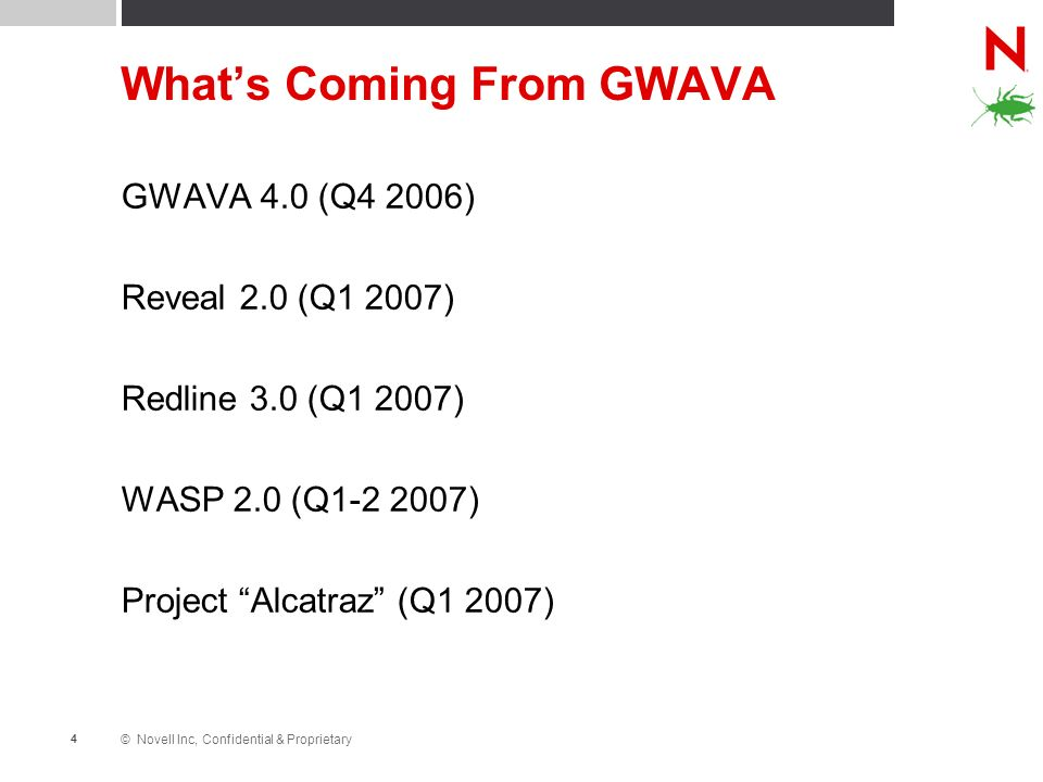 © Novell Inc, Confidential & Proprietary 4 Whats Coming From GWAVA GWAVA 4.0 (Q4 2006) Reveal 2.0 (Q1 2007) Redline 3.0 (Q1 2007) WASP 2.0 (Q1-2 2007) Project Alcatraz (Q1 2007)