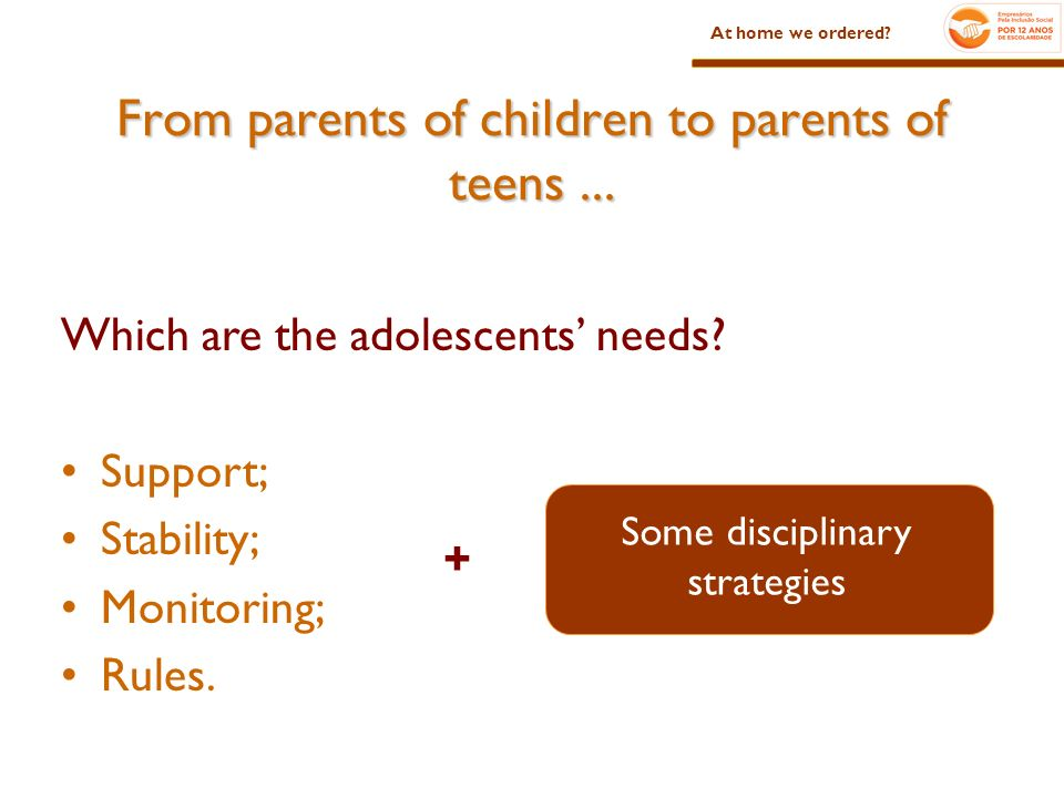 Which are the adolescents needs. Support; Stability; Monitoring; Rules.