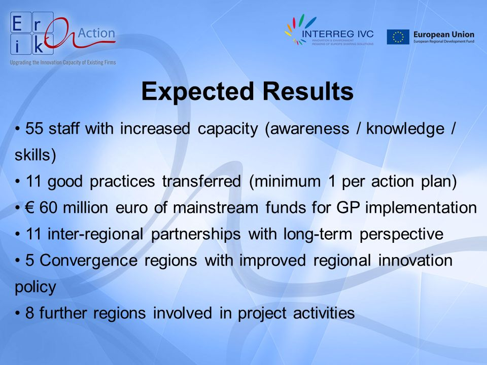 Expected Results 55 staff with increased capacity (awareness / knowledge / skills) 11 good practices transferred (minimum 1 per action plan) 60 million euro of mainstream funds for GP implementation 11 inter-regional partnerships with long-term perspective 5 Convergence regions with improved regional innovation policy 8 further regions involved in project activities