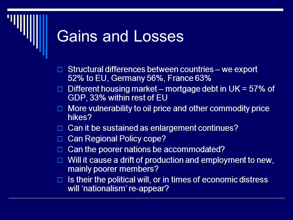 Gains and Losses Structural differences between countries – we export 52% to EU, Germany 56%, France 63% Different housing market – mortgage debt in UK = 57% of GDP, 33% within rest of EU More vulnerability to oil price and other commodity price hikes.
