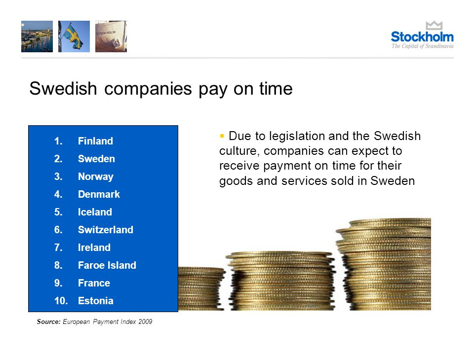 Swedish companies pay on time Source: European Payment Index 2009 Due to legislation and the Swedish culture, companies can expect to receive payment on time for their goods and services sold in Sweden 1.Finland 2.Sweden 3.Norway 4.Denmark 5.Iceland 6.Switzerland 7.Ireland 8.Faroe Island 9.France 10.Estonia