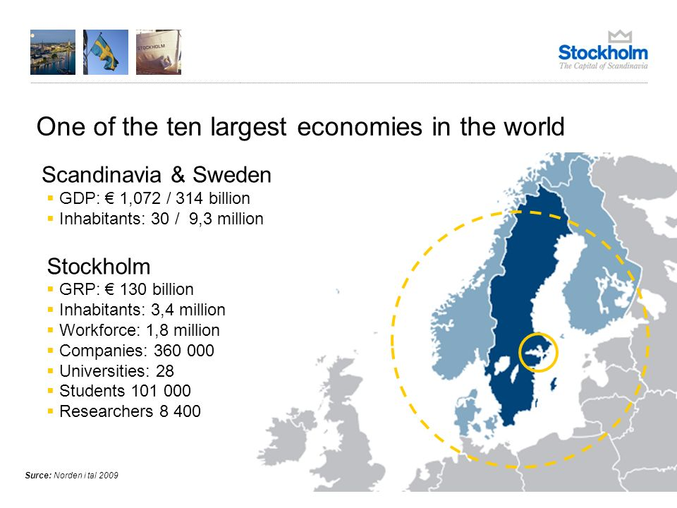 One of the ten largest economies in the world Surce: Norden i tal 2009 GRP: 130 billion Inhabitants: 3,4 million Workforce: 1,8 million Companies: 360 000 Universities: 28 Students 101 000 Researchers 8 400 Stockholm Scandinavia & Sweden GDP: 1,072 / 314 billion Inhabitants: 30 / 9,3 million