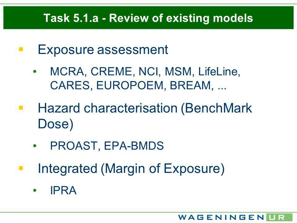 Task 5.1.a - Review of existing models Exposure assessment MCRA, CREME, NCI, MSM, LifeLine, CARES, EUROPOEM, BREAM,... Hazard characterisation (BenchM
