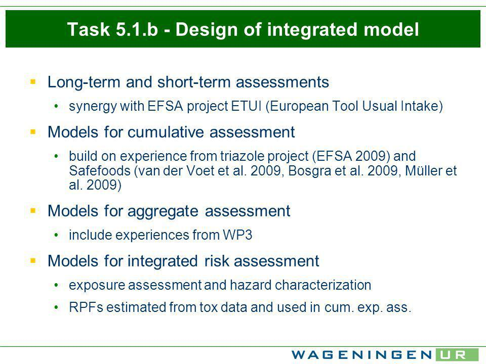 5.2 Addressing uncertainty Building on EFSA (2006) tiered appraoch Qualitative: systematic identification and evaluation of uncertainties user-friendly web-based software tool in M3 (August 2010) for members of WP 2/3/4 proposal for uncertainties that will be quantified Quantitative: 2D Monte Carlo approach inner loop: constructs variability distribution outer loop: constructs uncertainty distributions